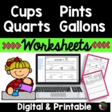Cups  Pints Quarts Gallons Worksheets | Digital and Printable