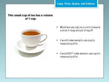 Cups, Pints, Quarts, and Gallons Powerpoint