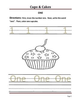 Cups and Cakes--Practice Number and Letter Formation 1-10