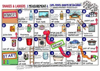 Cups, pints, quarts, gallons Snakes and Ladders Game