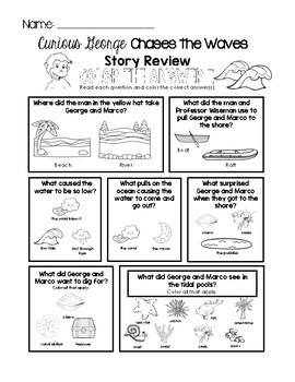 Curious George Chasing Waves - Story Review Worksheet Set