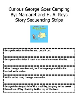 Curious George Goes Camping Sequencing