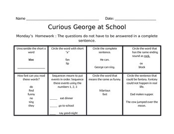 Curious George Goes to School Jouneys Common Core