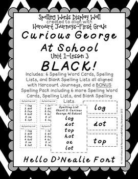 Curious George Journeys First Grade Spelling Wall BLACK Hello D'Nealie Font