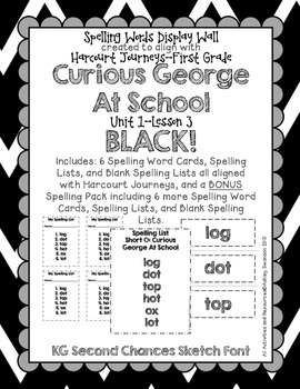Curious George Journeys First Grade Spelling Wall BLACK KG Sketch Font