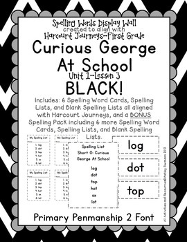 Curious George Journeys First Grade Spelling Wall BLACK Primary Penmanship Font