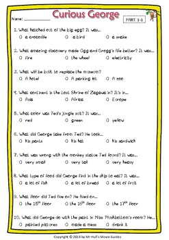 Curious George Movie Guide + Activities - Answer Keys Included
