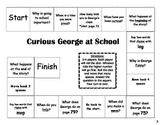 """Curious George at School"" Comprehension Game Board- Journeys story 1st grade"