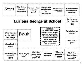 """""""Curious George at School"""" Comprehension Game Board- Journ"""