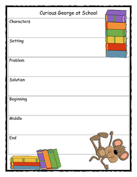 Curious George at School Story Map - Graphic Organizer