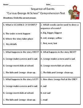 Curious George at School - Vocabulary & Comprehension Test/Quiz (Journeys)