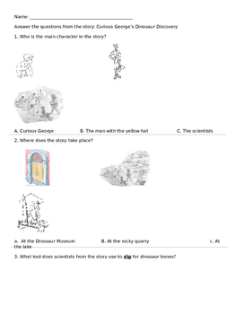 Curious George's Dinosaur Discovery Comprehension Questions
