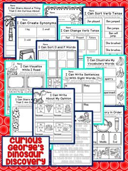 Curious George's Dinosaur Discovery Kindergarten NO PREP Supplemental Printables