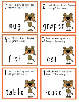 Curious George's Dictionary Task Cards