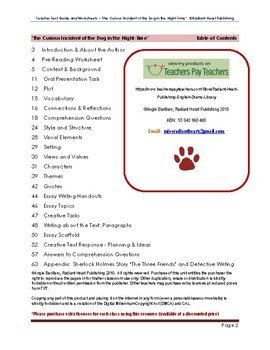 The Curious Incident of the Dog in the NightTime Teacher Text Guide & Worksheets