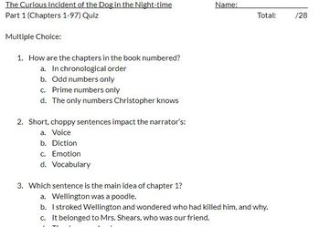 Curious Incident of the Dog in the Night-time 3 Quiz bundle