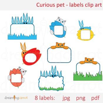 Curious Pet - Label Tag Clip Art Cat Rabbit Flower Color Hiding Note Text Space
