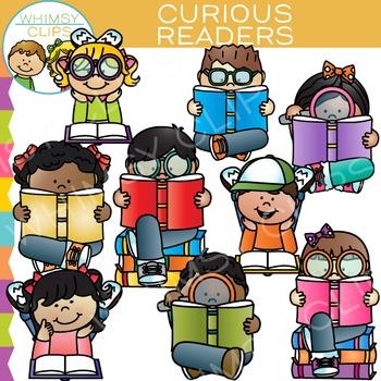 Curious Kids Reading Clip Art