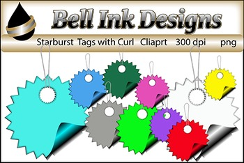 Curled Starburst Tags Clipart