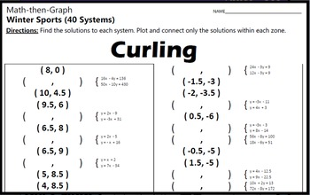 Curling - 40 Systems & Coordinate Graphing Activity