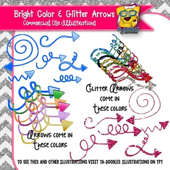 Curly Arrows Glitter and Bright Colors Clip Art