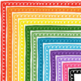 Curly Border Clipart | Bright and Colorful Borders | Page Borders / Frames