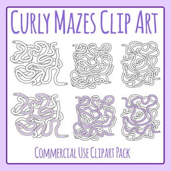 Curly Mazes Templates Commercial Use Clip Art Pack