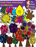 Curly Trees and Leaves Clipart (Graphics for Personal and Commercial Use)