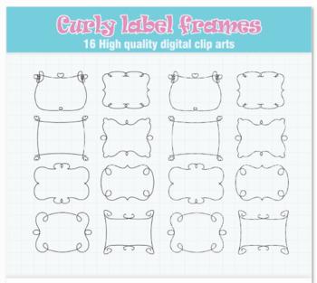 Curly label frames SVG clipart - Label frames svg - Frames SVG file - DIY