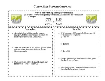 Currency Conversions - Guided Notes