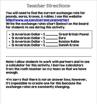 Currency Exchange Activity One of Two