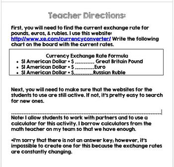 Currency Exchange Activity Two of Two