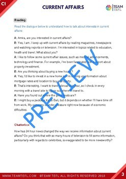 Current Affairs C1 Advanced Lesson Plan For ESL