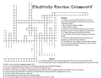 Current Electricity Vocabulary and Crossword Review