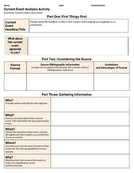 Current Event Analysis Activity Worksheet, Content Literacy