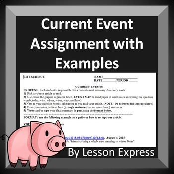 Current Event Assignment with examples: Middle School Science