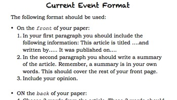 Current Event Format and Rubric