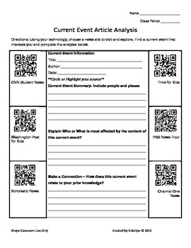Current Event Graphic Organizer 2 -Using QR codes