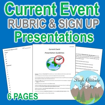 Current Event Presentation Expectations Rubric Sign up Sheet