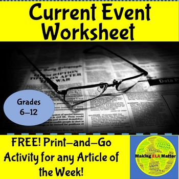 Current Event Question Sheet FREE