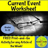 Current Event Question Sheet FREE (Distance Learning)
