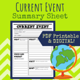 Current Event Summary Worksheet (Printable & Digital)