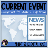 Current Event Templates & Assignment for Middle & High School