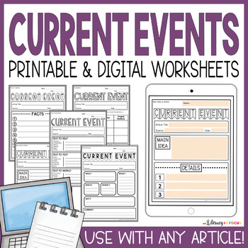 Current Events Templates | Includes Google Classroom Version