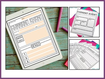 Current Events Templates | Worksheets | Assignments | Distance Learning