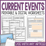 Current Events Templates   Worksheets   Assignments   Distance Learning