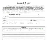 Current Event Templates aligned with Common Core