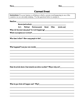 Current Event Worksheet by Helpful High-school Handouts | TpT