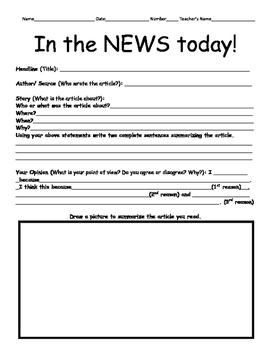 Current Event Worksheet