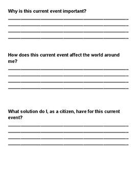 Current Event Worksheet Template